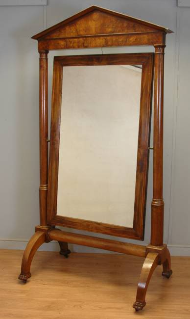 Huge Empire Figured Walnut French Antique Cheval Mirror