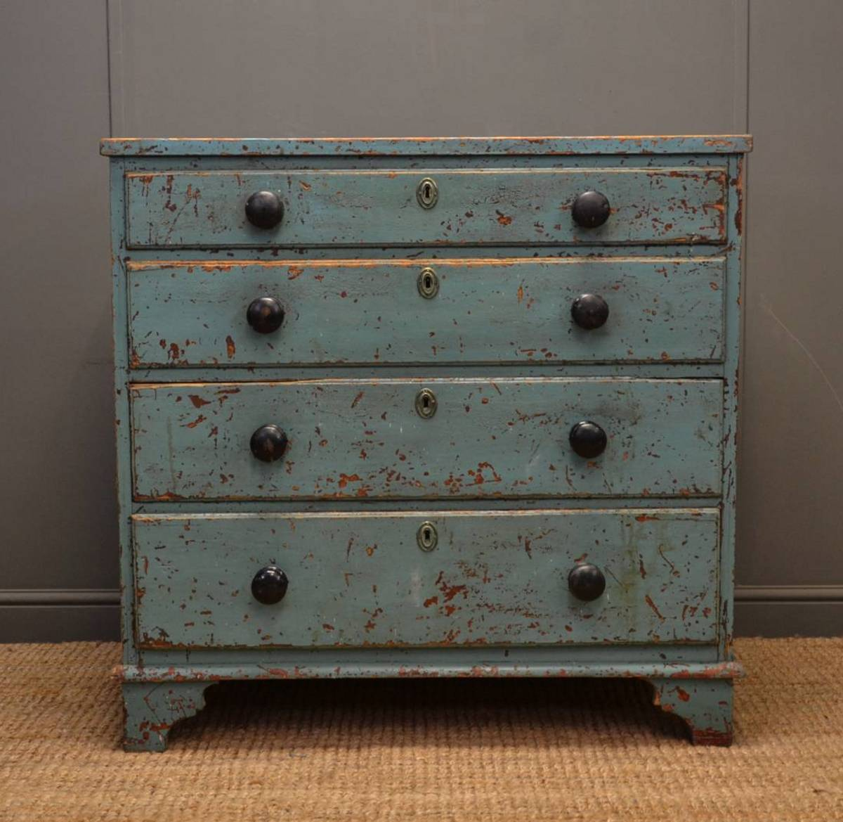 rustic painted georgian antique chest of drawers. Black Bedroom Furniture Sets. Home Design Ideas