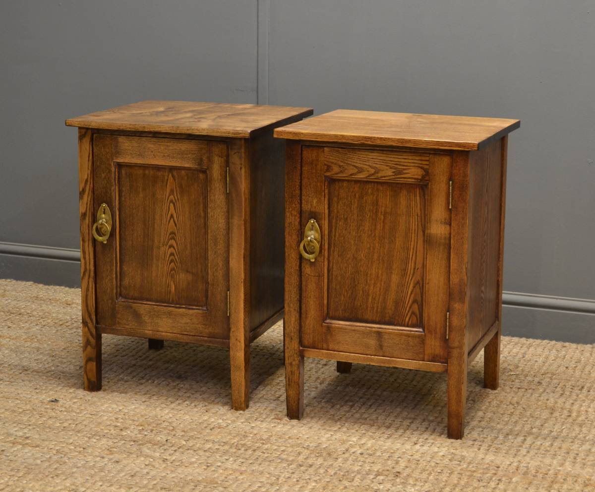 Unusual Pair of Arts & Crafts Antique Ash Bedside Cabinets.