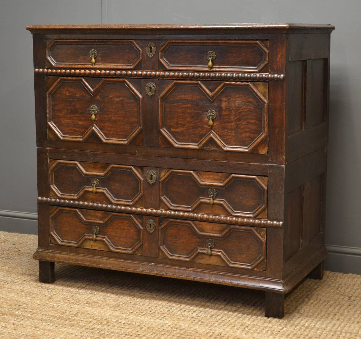Early 18th Century Period Oak Antique Chest.