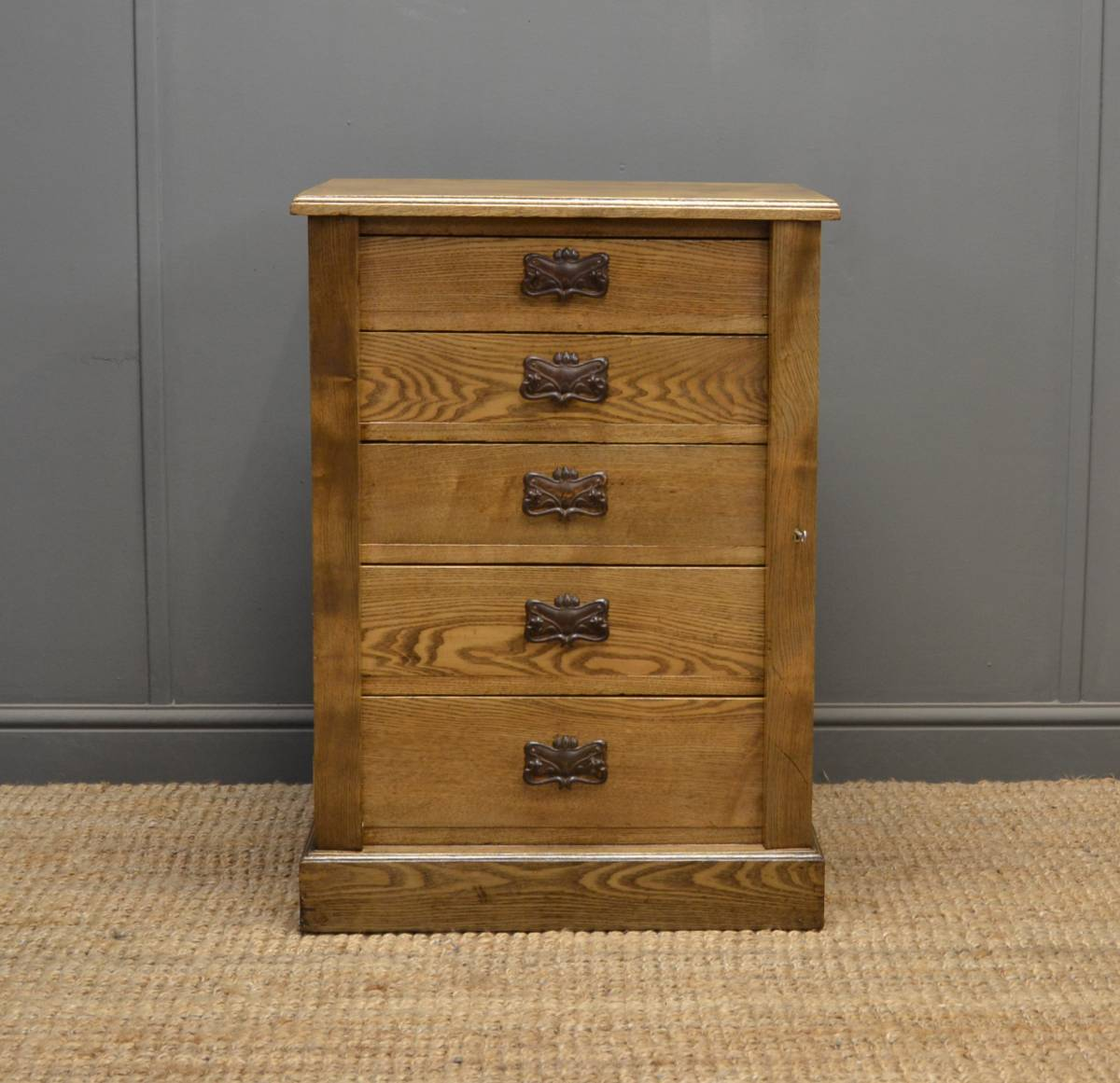 Unusually Small Victorian Antique Ash Wellington Chest