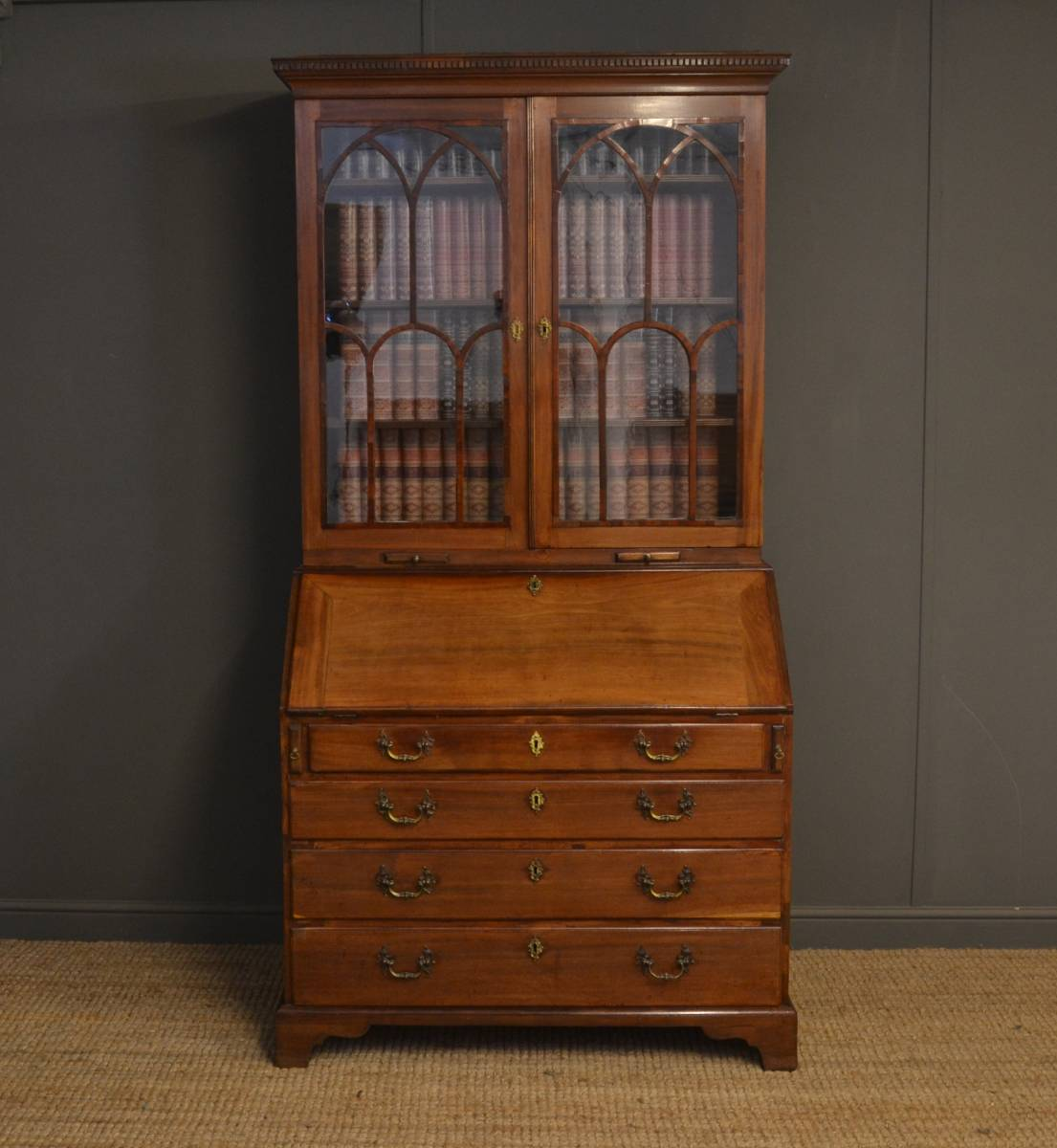 Quality, Mid Georgian, Antique Mahogany Bureau Bookcase