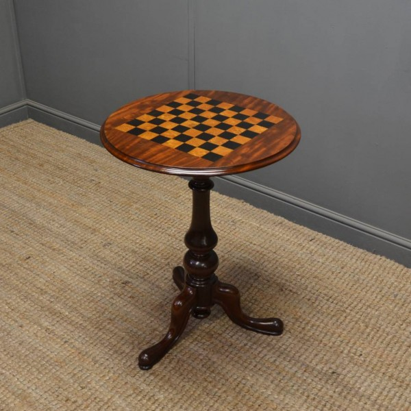 46581 – Quality Victorian Mahogany Antique Chess Top Table