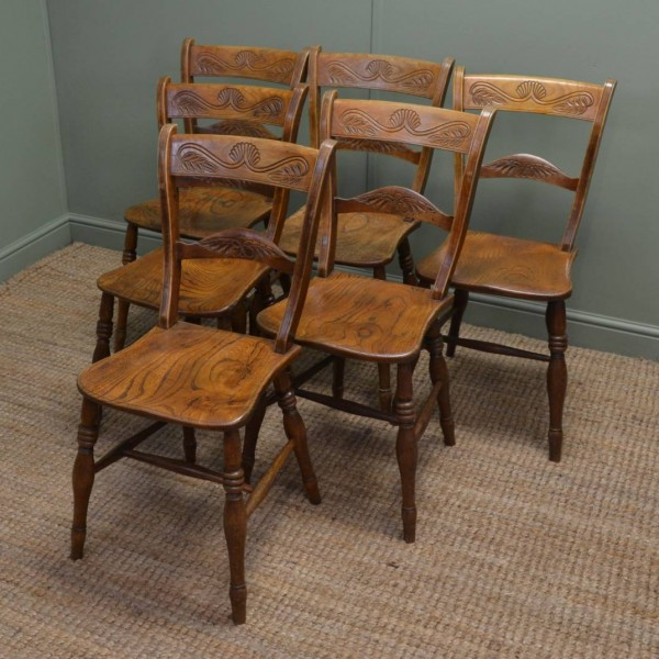 Set of Six Victorian Elm Antique Country Kitchen Chairs.