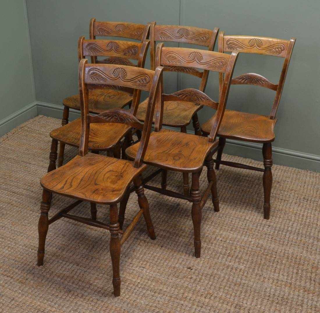Nice Set Of Six Victorian Elm Antique Country Kitchen Chairs.
