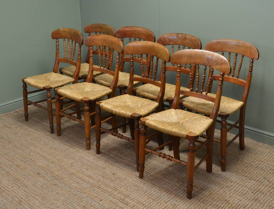 Set of Eight Charming Antique Country Chairs.