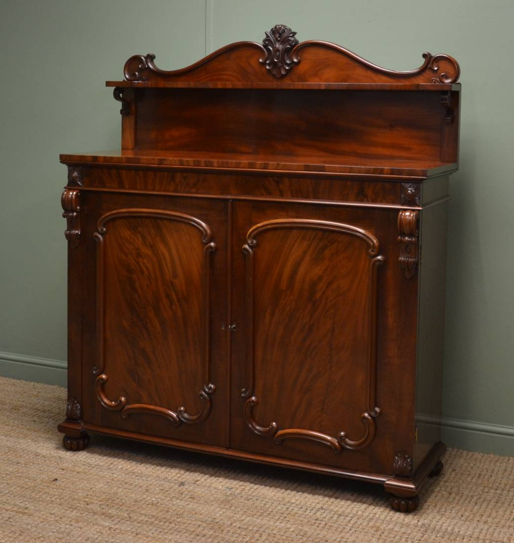 Fine Quality, Victorian, Figured Mahogany, Antique Chiffonier / Cupboard
