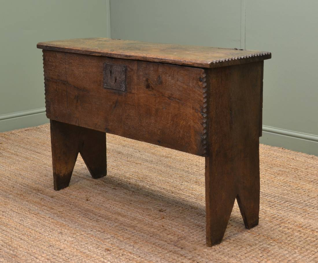 Rare Antique 17th Century Six Plank Oak Coffer. - Early English Antique Furniture Pegged Construction - Antiques World