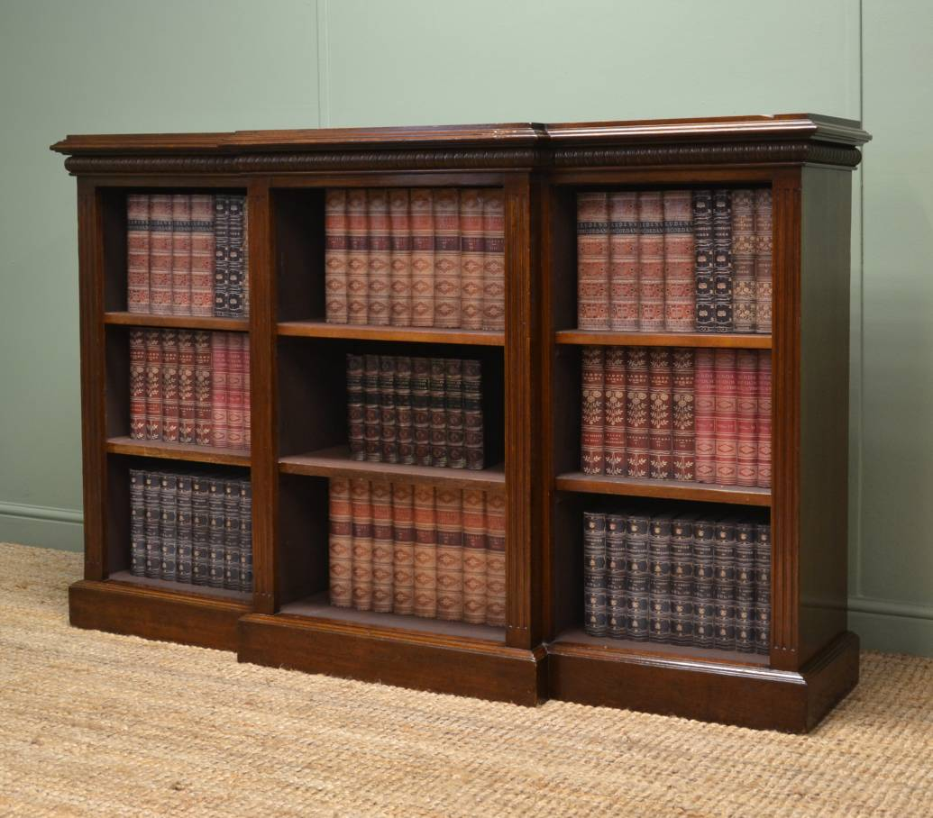 Victorian Break-Fronted Antique Open Bookcase.