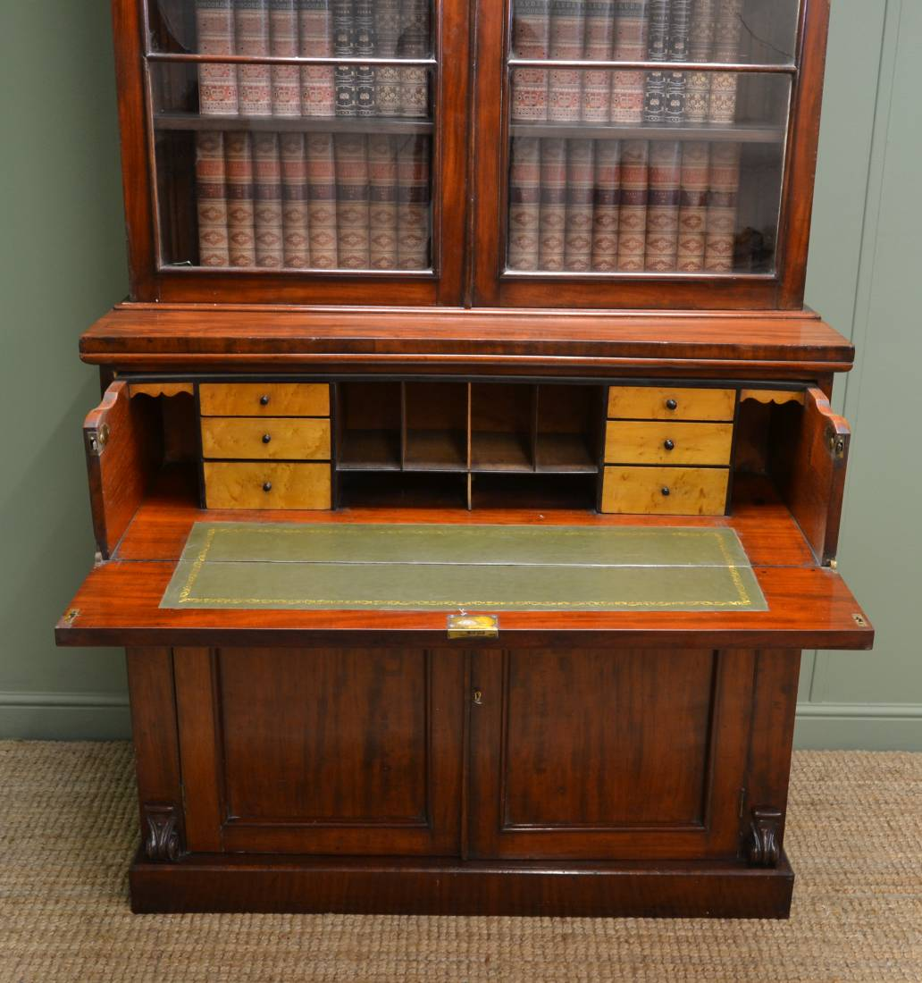 Large Victorian Mahogany Antique Secretaire Bookcase