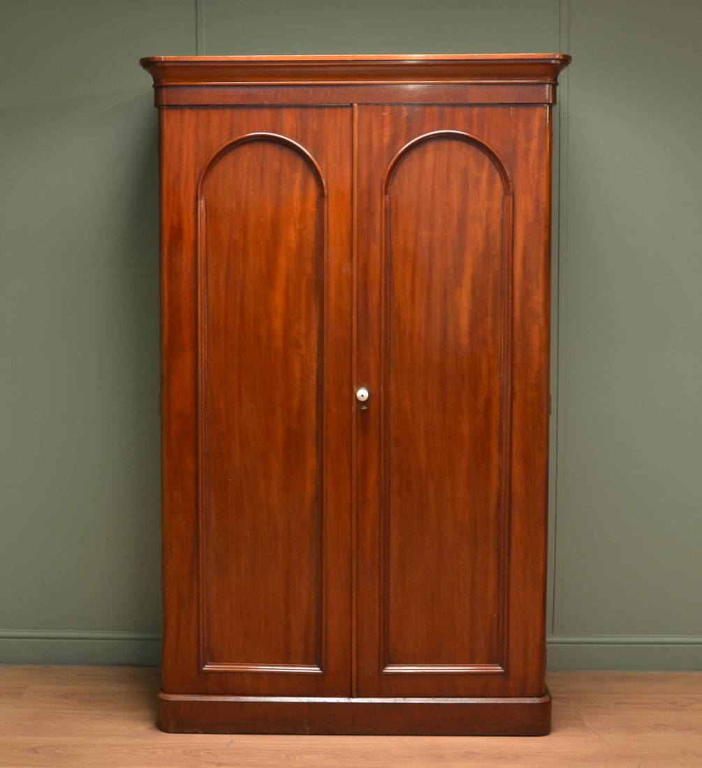 Small Victorian Mahogany Antique Double Wardrobe