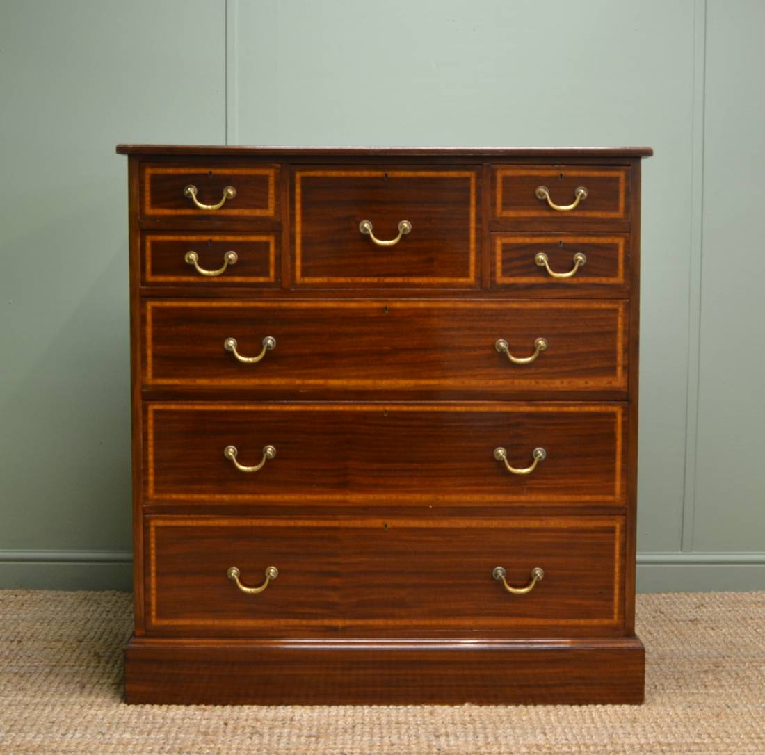 Magnificent Quality, American Walnut, Edwardian Antique Chest of Drawers