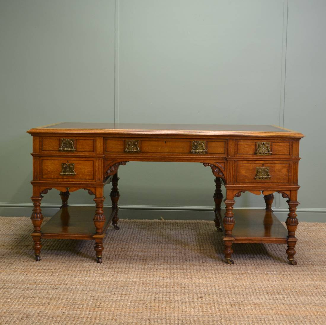 "Magnificent ""Marsh, Jones & Cribb"" Large Victorian Oak Antique Desk"