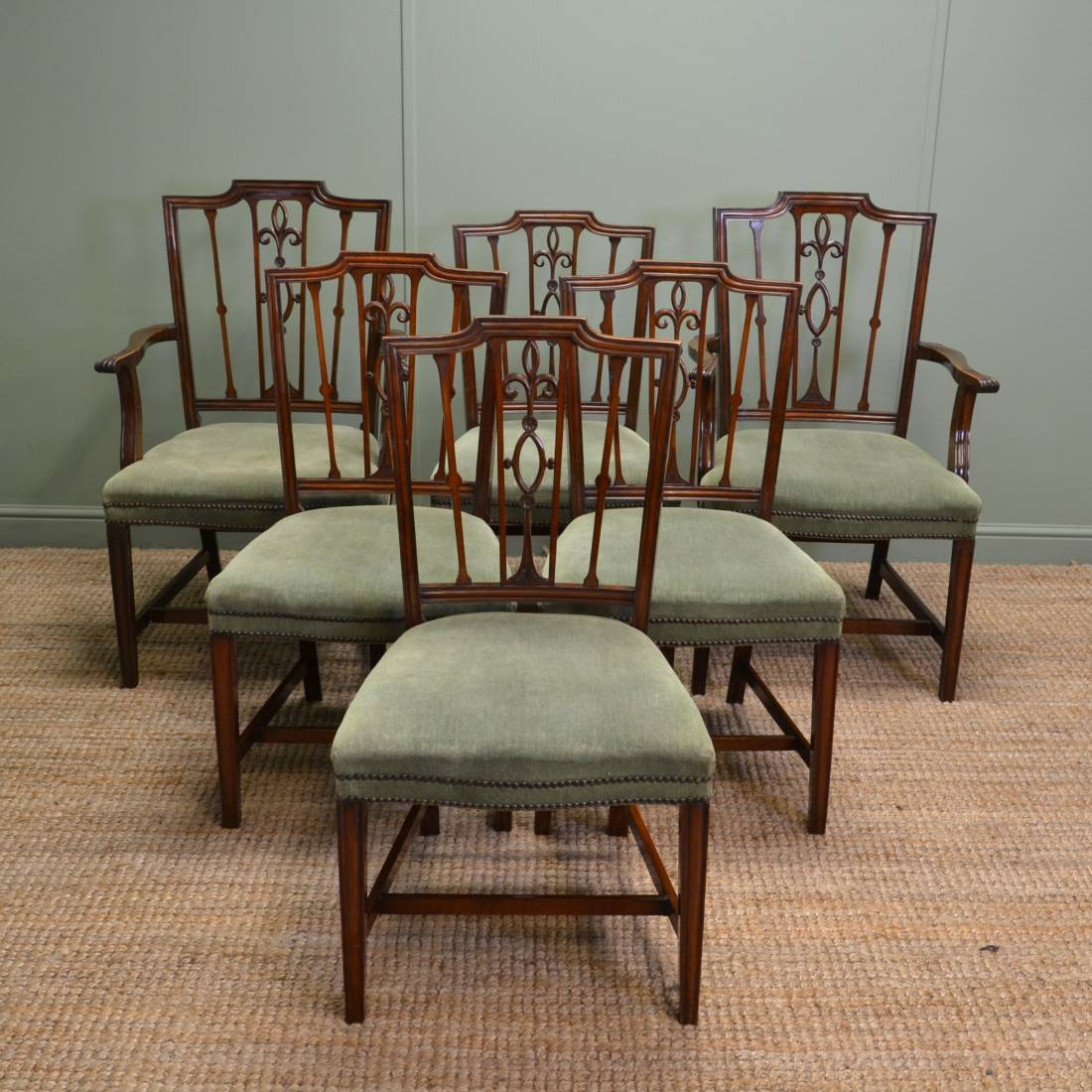 Set of six edwardian mahogany antique dining chairs