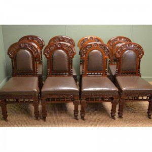 Superb Set of Eight Victorian Antique Walnut Dining Chairs