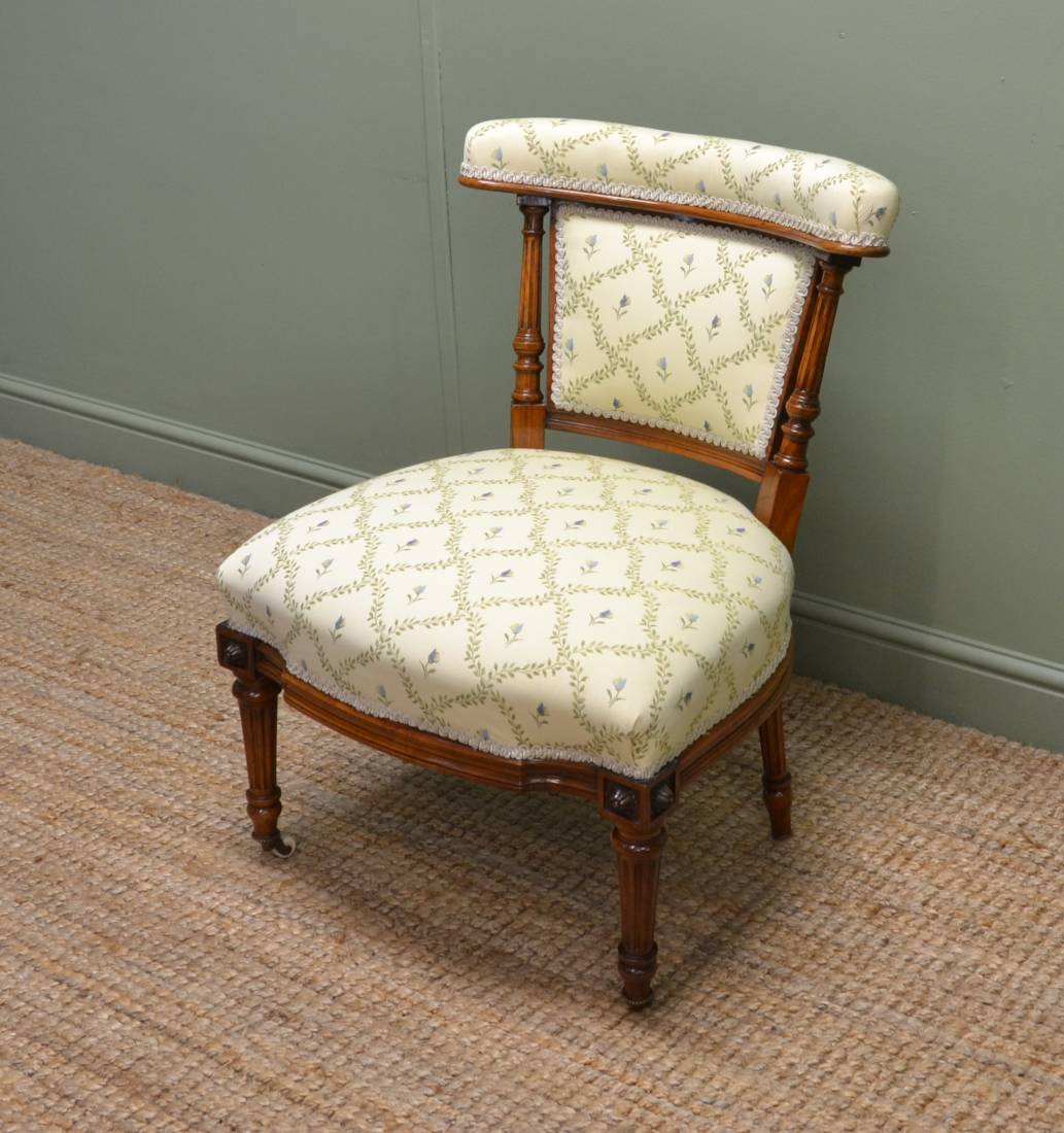 Quality Victorian Walnut Small Upholstered Antique Chair - Quality Victorian Walnut Small Upholstered Antique Chair - Antiques