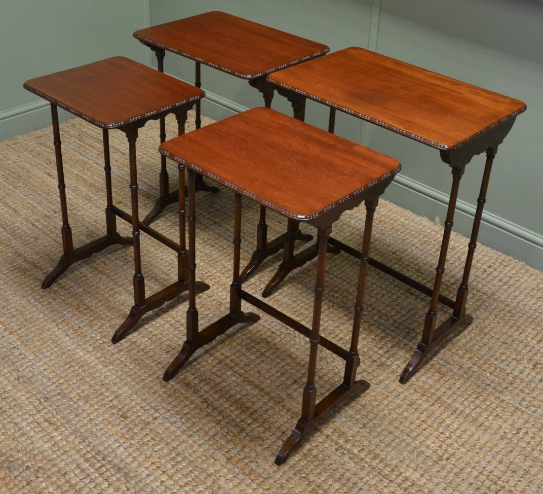 Edwardian Mahogany Antique Quartet of Nesting Tables