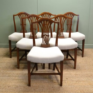Set of Six Georgian Mahogany Hepplewhite Design Antique Dining Chairs