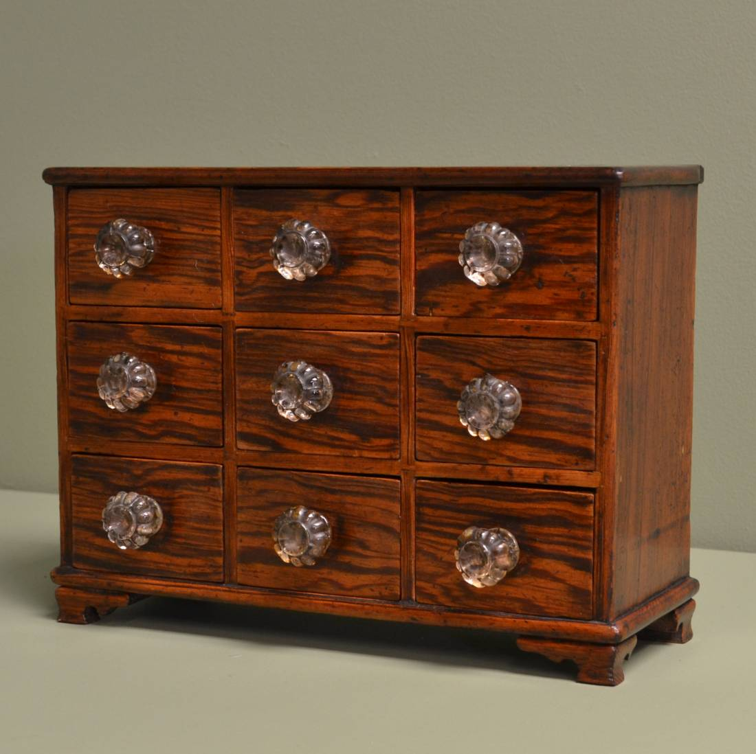Antique Victorian Pitch Pine Small Chest Of Spice Apprentice Drawers Antiques World