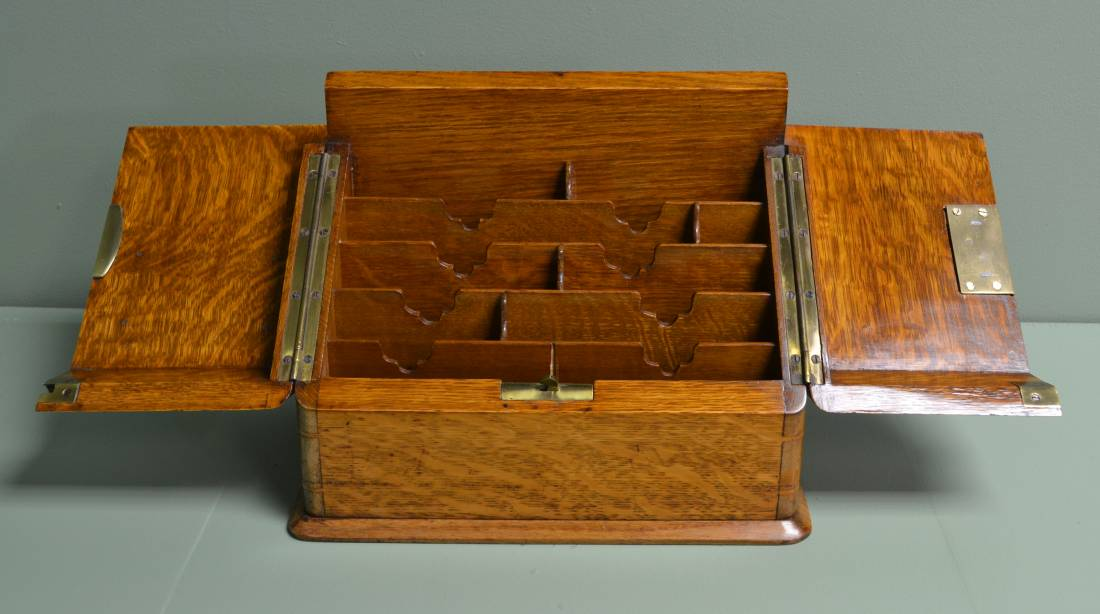 Quality Victorian Oak Antique Stationery Box