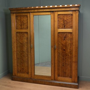 Arts & Crafts Pitch Pine Antique Victorian Triple Wardrobe