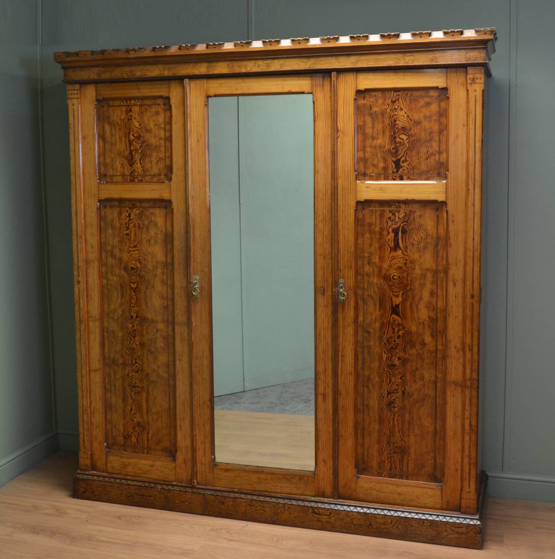 Arts & Crafts Pitch Pine Arts & Crafts design triple wardrobe