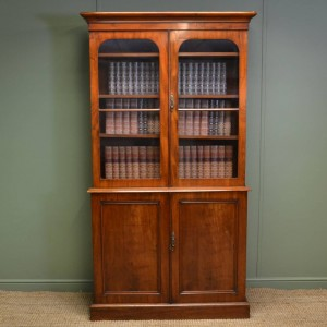 Quality Victorian 'Slimline' Antique Mahogany Bookcase
