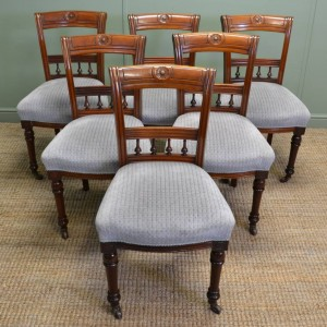 Set of Six Victorian Walnut Antique Dining Chairs.