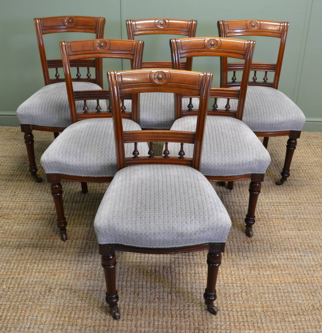 Set of Six Victorian Walnut Antique Dining Chairs. - Set Of Six Victorian Walnut Antique Dining Chairs. - Antiques World