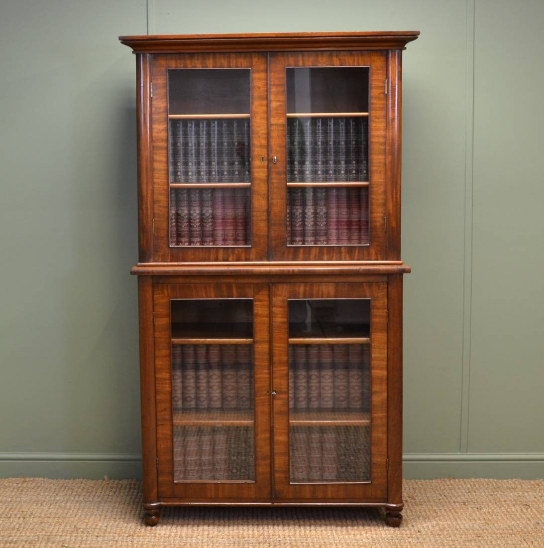 Unusual, Small, Regency Mahogany Antique Glazed Bookcase.
