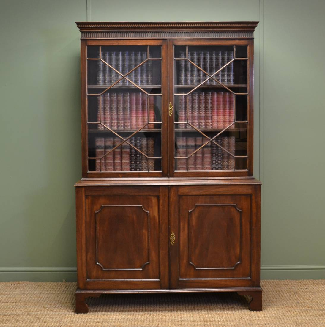Victorian Mahogany Antique Barristers Bookcase with Small Proportions