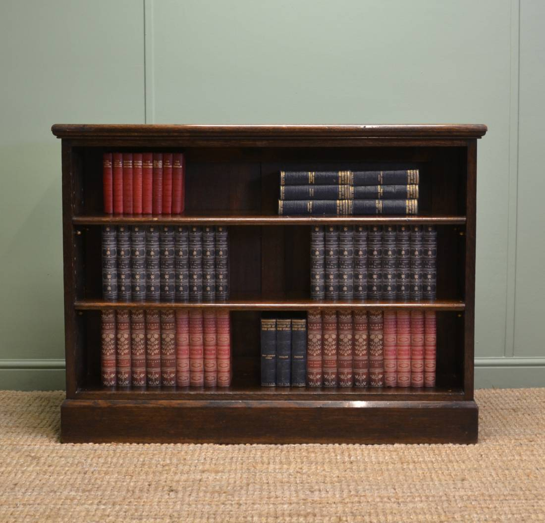 Liberty's Edwardian Oak Antique Open Bookcase.