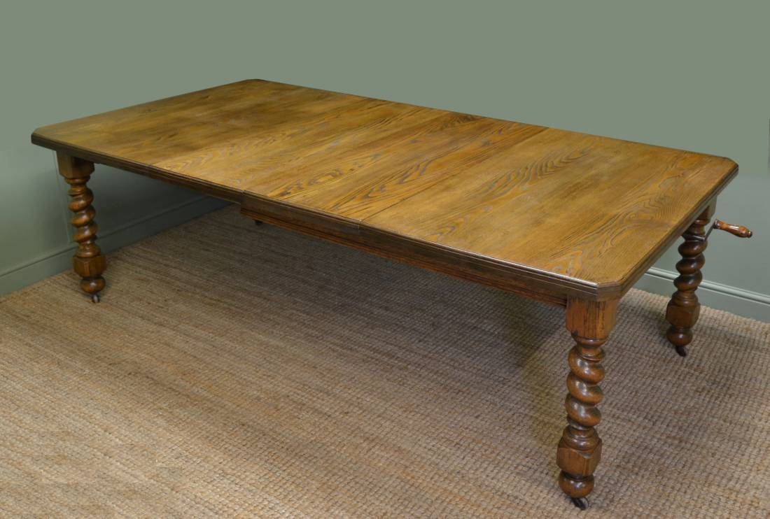 Large Edwardian Ash Antique Wind Out Dining Table.