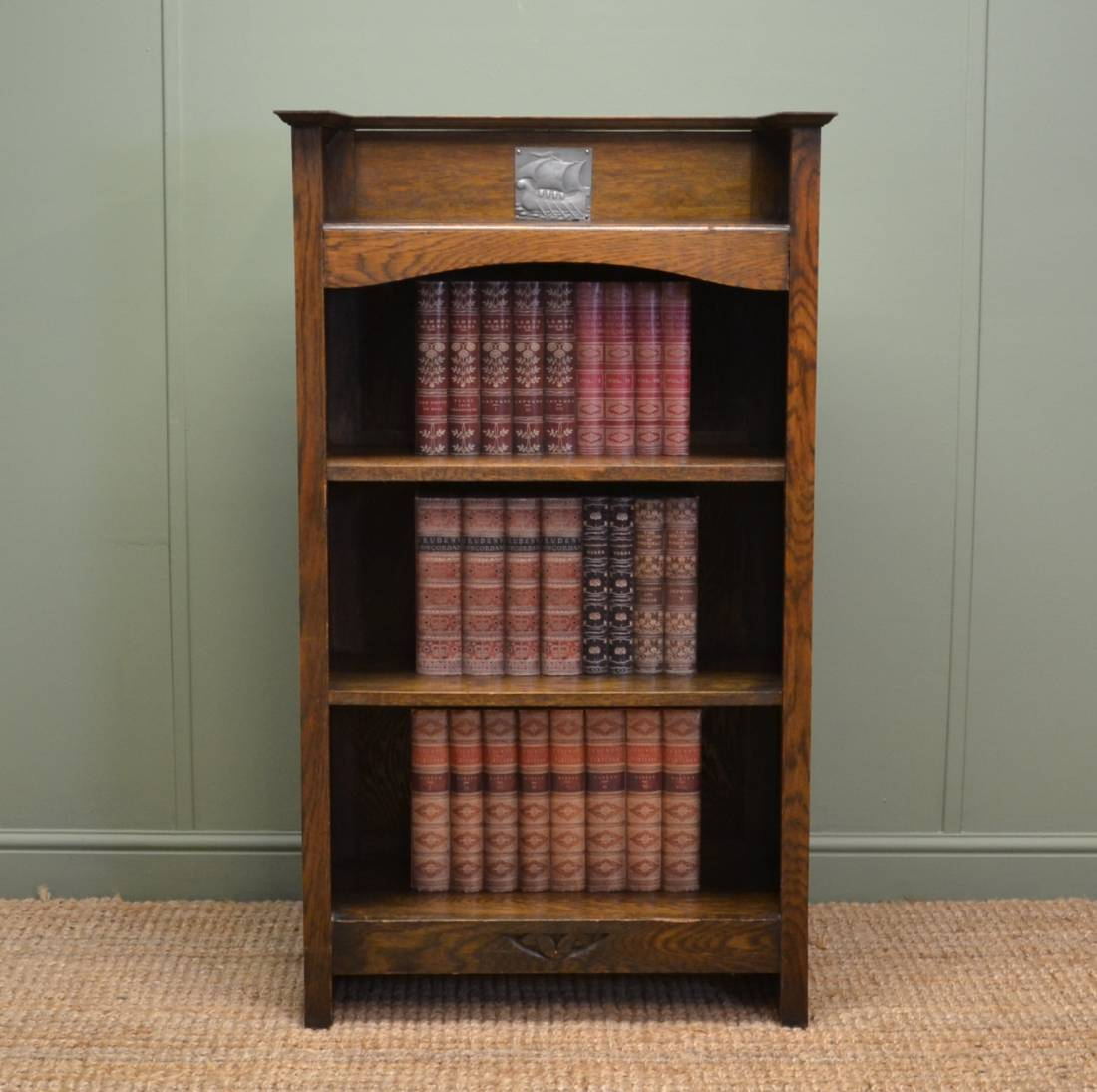 Small Arts & Crafts Antique Oak Open Bookcase