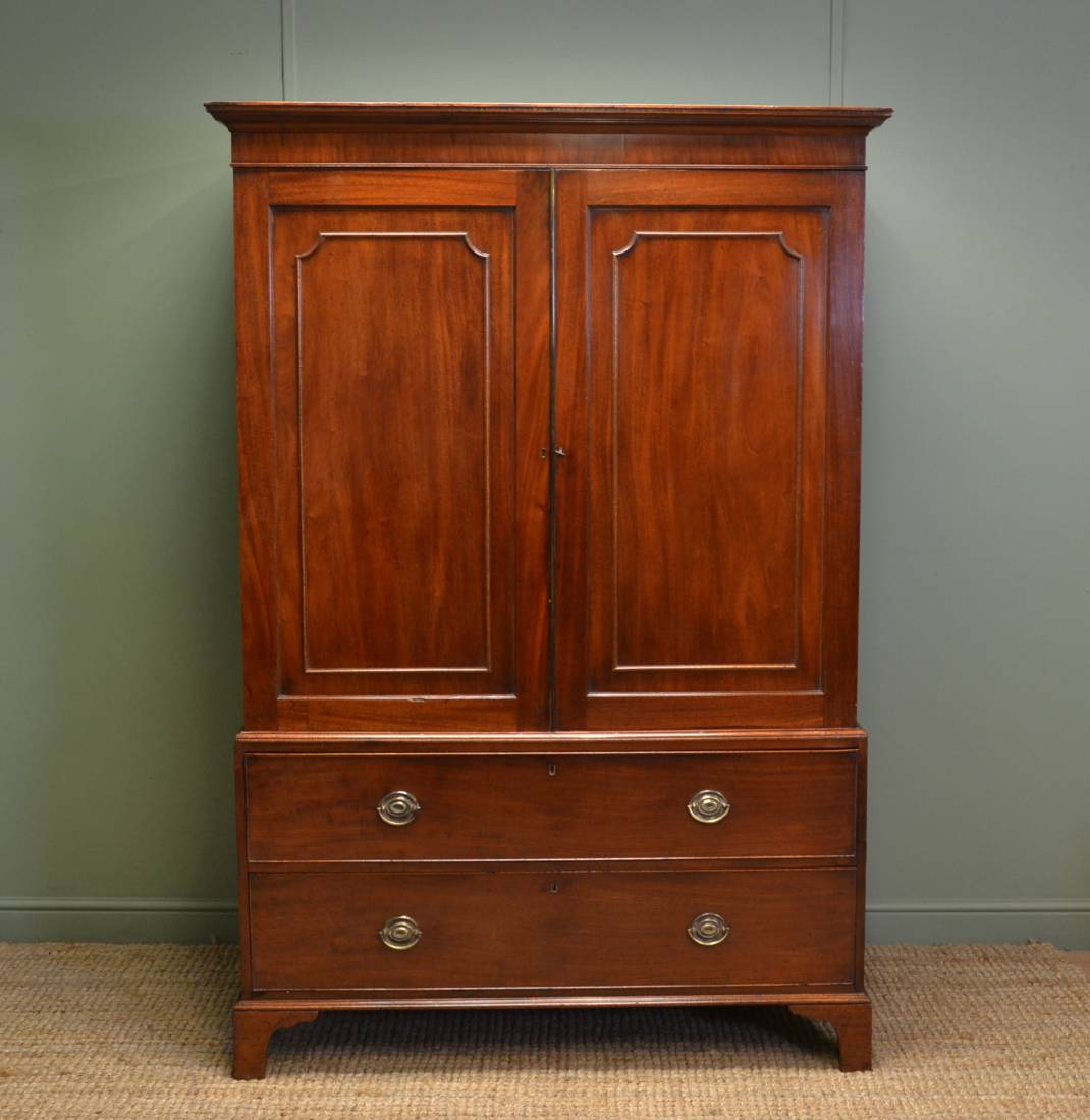 Georgian mahogany antique linen press of small proportions for Linen press