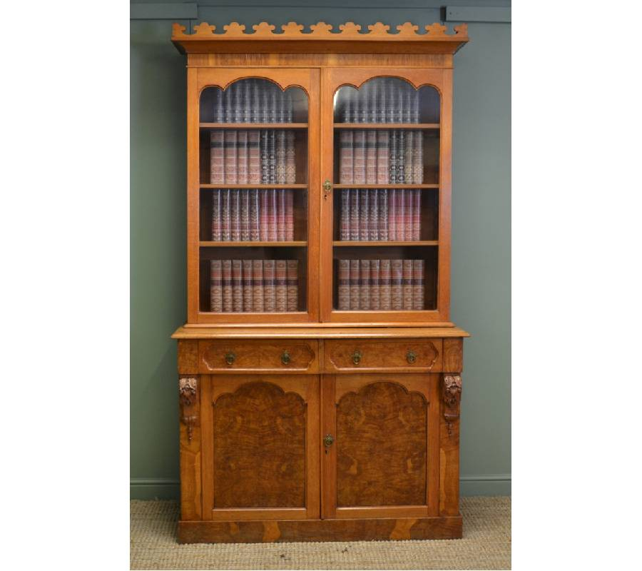 Rare Pollard Oak Arts & Crafts Antique Victorian Bookcase.