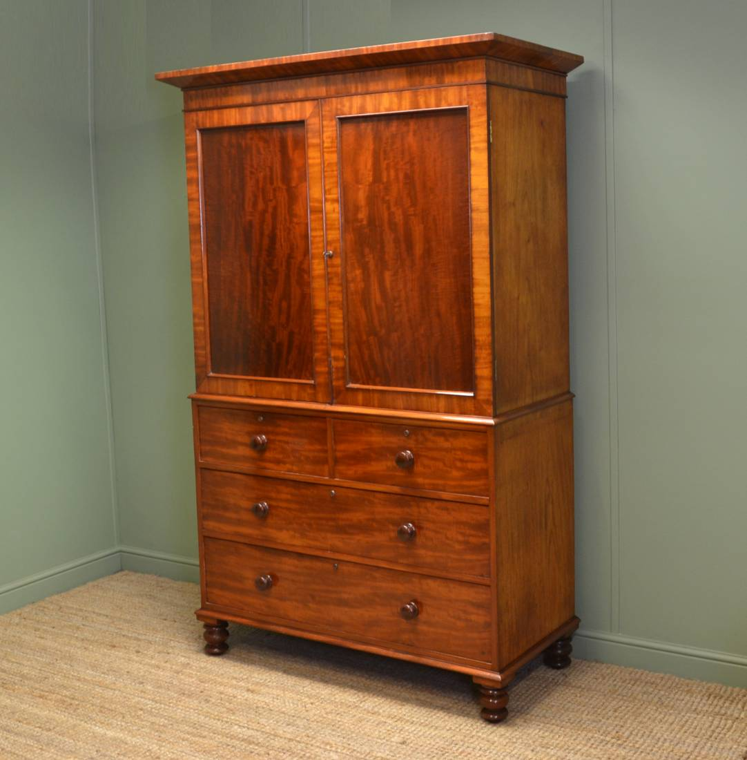 Early Victorian, Rich Mahogany, Antique Linen Press