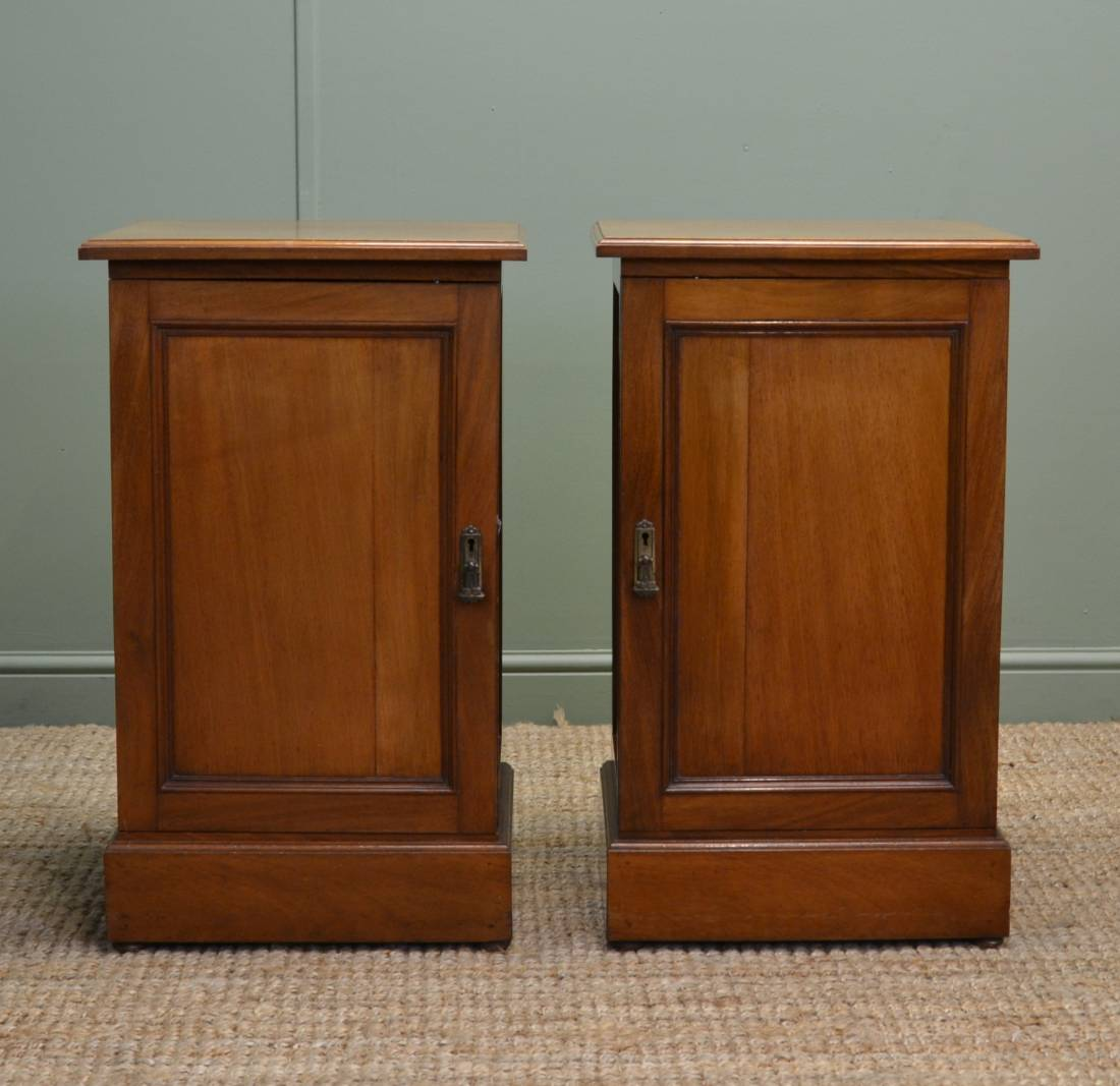 True Pair of Edwardian Walnut Antique Bedside Cabinets