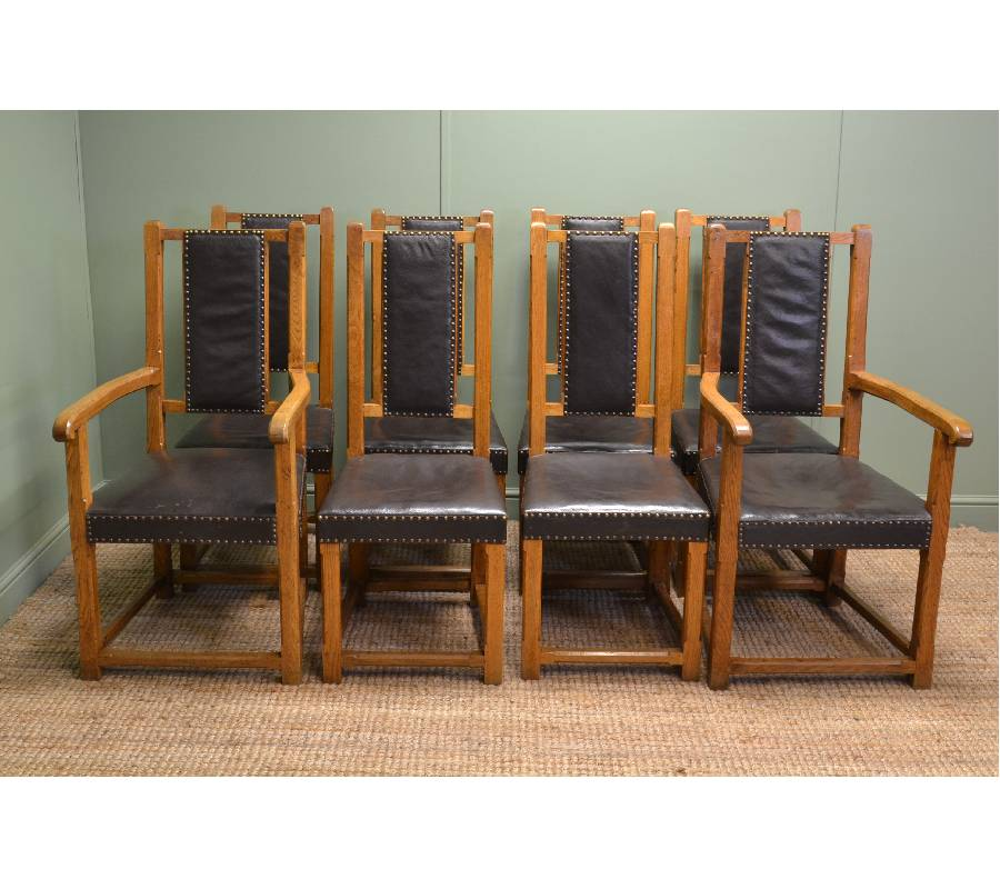 Unusual, Set of Eight, Arts & Crafts Antique Oak Dining Chairs