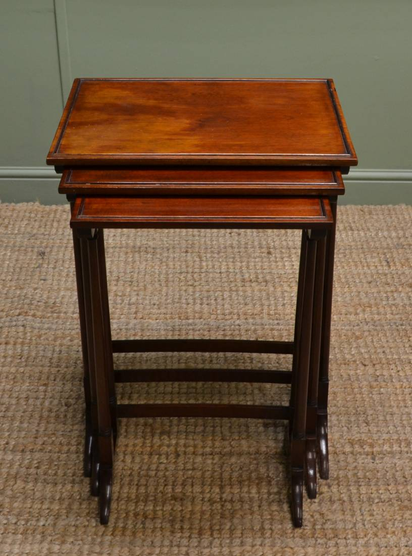 Set of Three Occasional Edwardian Mahogany Antique Nesting Tables