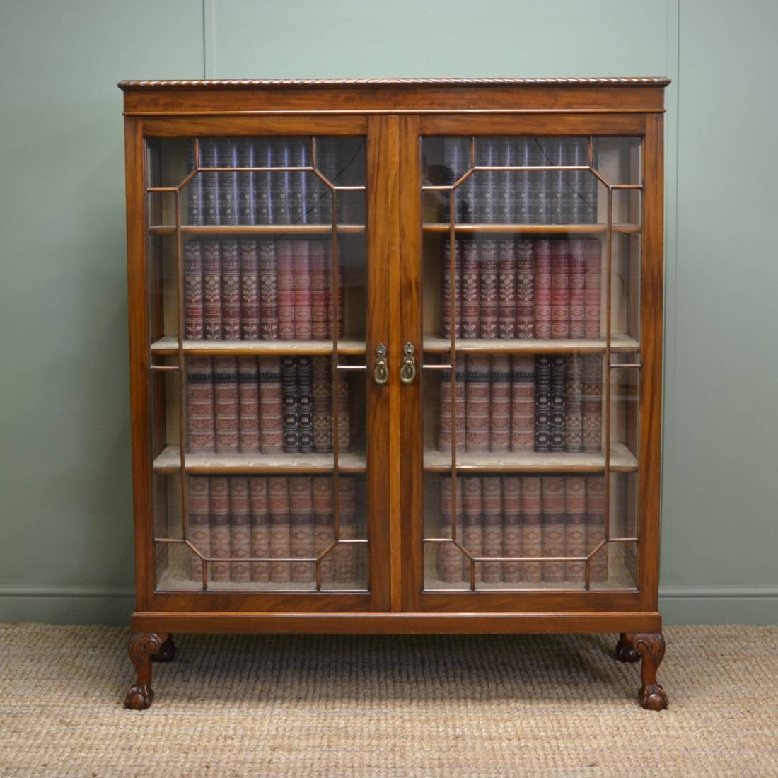 Antique edwardian walnut glazed bookcase display cabinet for Antique display cabinet