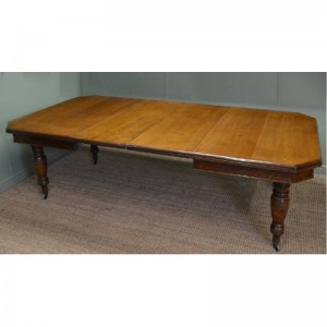 Antique Victorian Oak Extending Dining Table