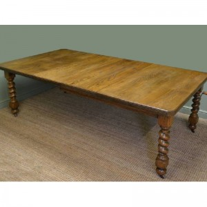 Large Edwardian Ash Antique Wind Out Dining Table