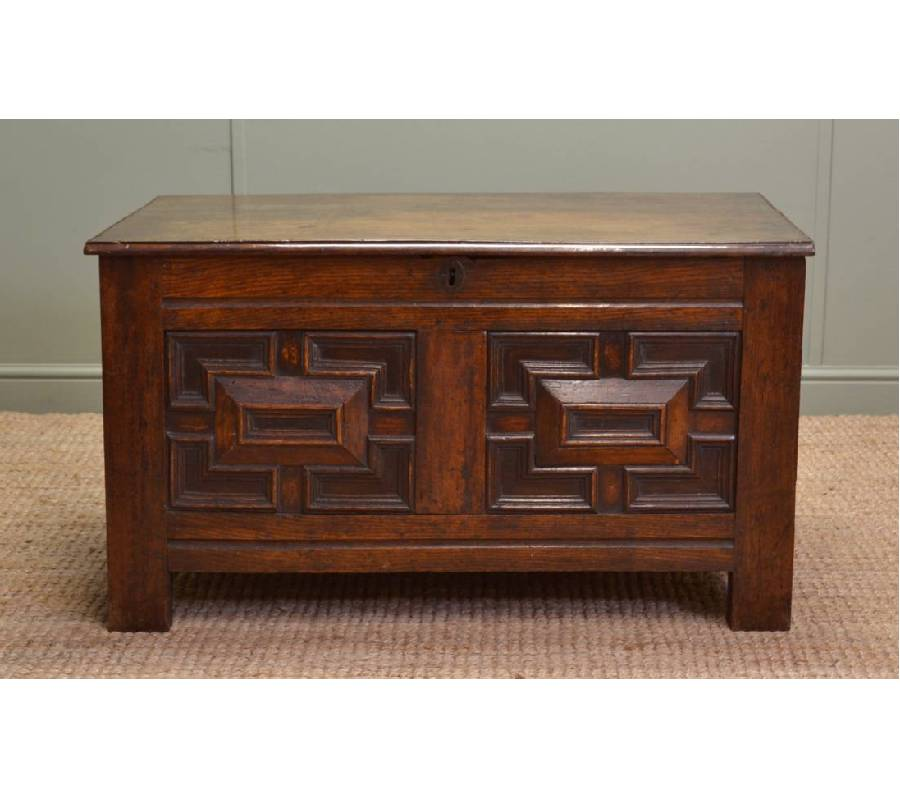 Period Oak Antique Coffer with Geometric Detailing