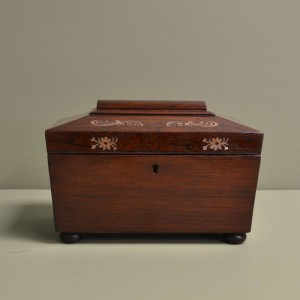 Small Rosewood Sarcophagus Antique Box
