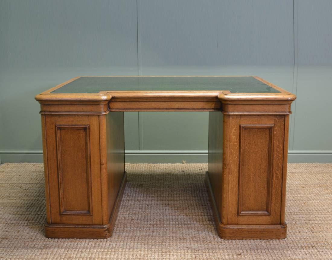 Unusual Victorian Oak Antique Partners Desk