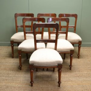 Set of Six Antique Victorian Arts & Crafts Walnut Dining Chairs