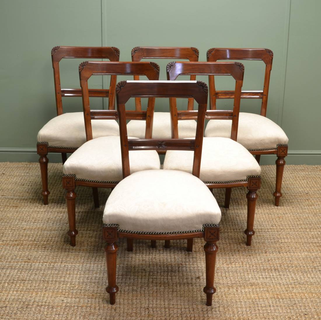 Antique victorian dining chairs - Set Of Six Antique Victorian Arts Crafts Walnut Dining Chairs