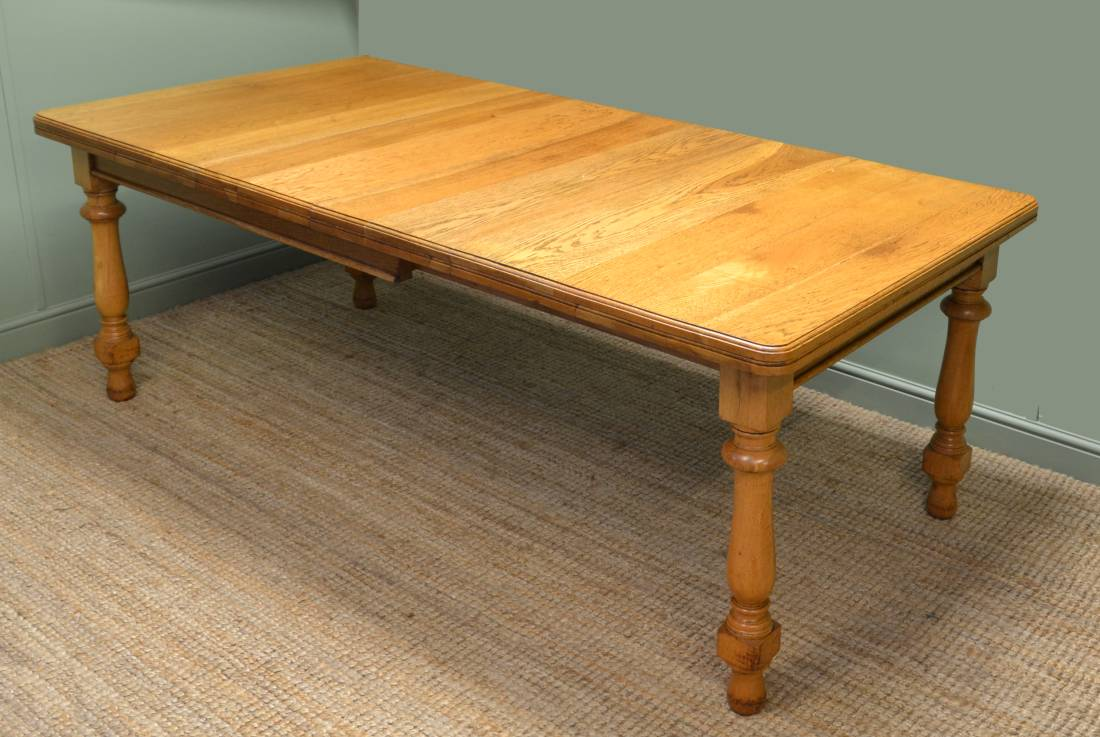 Quality Golden Oak Antique Dining Table by Warings