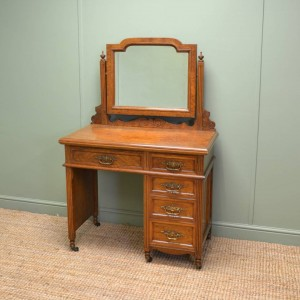 Magnificent 'Burr' Pollard Oak Arts & Crafts Antique Dressing Table